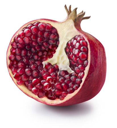 Half of pomegranate isolated on white background for package design