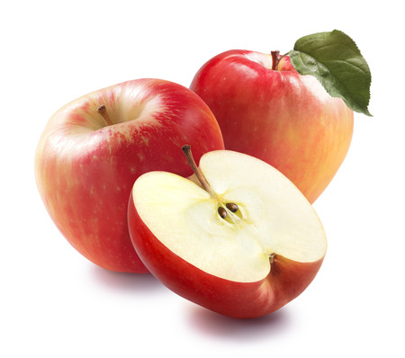 蜂蜜のクランチりんごとパッケージ デザインのための白い背景で隔離の半分 写真素材