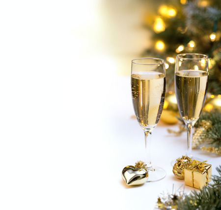 Glasses with champagne glasses for new year celebration