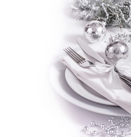 candle dinner: Silver table set for New Year