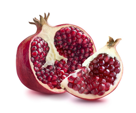 Half of pomegranate and quarter piece isolated on white background as package design elements Standard-Bild