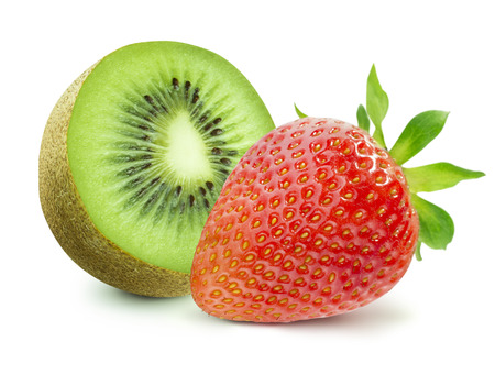 strawberry: Half of kiwi and strawberry isolated on white background as package design elements Stock Photo
