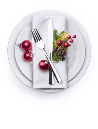 Invitiation とメニューのデザインの背景としてお祝いのクリスマス新年プレート