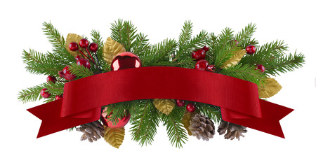 Festive garland christmas and new year design element for background of menu, invitation, poster photo