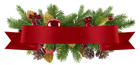 Christmas decoration element in red and gold theme for menu, invitation, poster photo