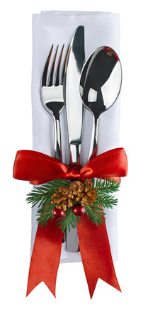 Christmas silverware and napkin isolated on white background as design element for poster, menu, invitation