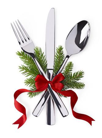 weihnachtsschleife: Weihnachten und Neujahr Besteck zum Feiern als Einladung Design-Hintergrund Lizenzfreie Bilder