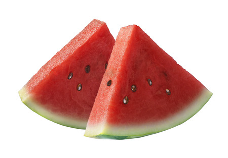 cut: Two slices of watermelon isolated on white background as package design element
