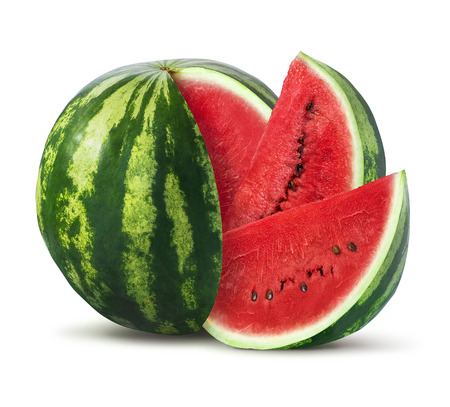 Watermelon and slices isolated on white background as package design element