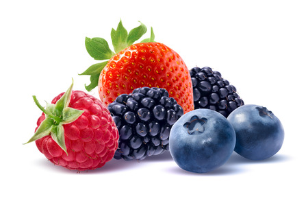 Strawberry, raspberry, blueberry and blackberry isolated on white background as package design element