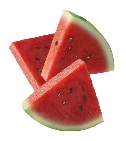 Three watermelon slices isolated on white background as package design element Standard-Bild