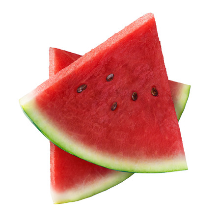 Two triangle pieces of watermelon isolated on white background as package design element