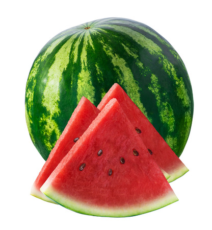 Whole watermelon and three triangle pieces isolated on white background as package design element Standard-Bild