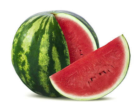 Big watermelon and slice isolated on white background as package design element