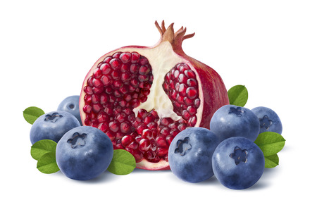Blueberry and pomegranate half isolated on white background as package design element Foto de archivo