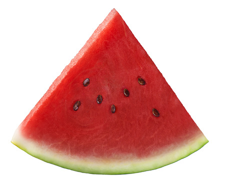 Single fresh watermelon piece isolated on white background as package design element Stock Photo
