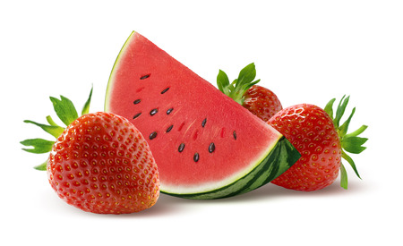 Watermelon slice and strawberry isolated on white background as package design element