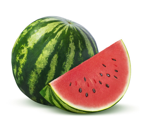 Whole watermelon and slice isolated on white background as package design element