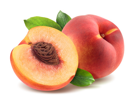 Peach with leaves and half piece isolated on white background as package design element