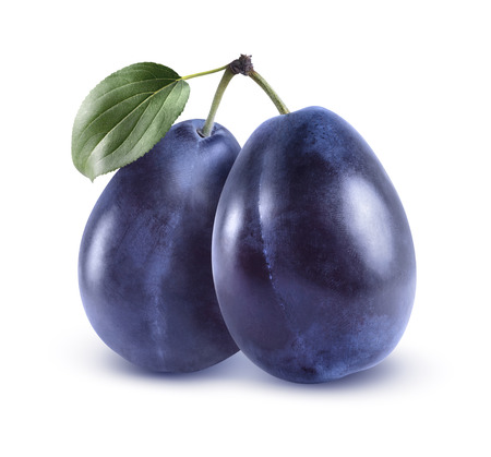 Whole blue plums isolated on white background as package design element Banco de Imagens