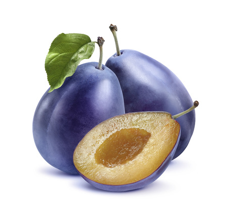 Two blue plums and half isolated on white background as package design element