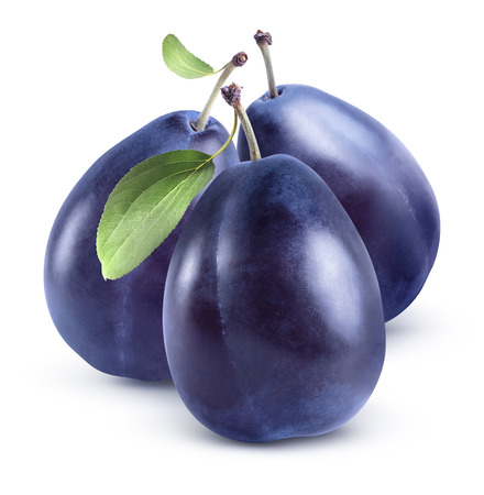 Three blue plums compact group isolated on white background