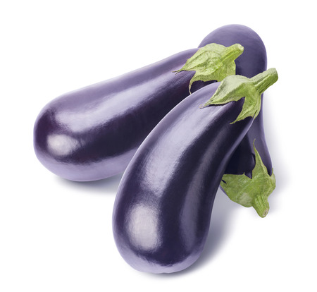 eggplants: Aubergine eggplant group isolated on white background as package design element