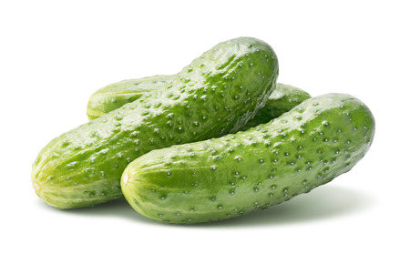 Middle size cucumbers isolated on white as package design element