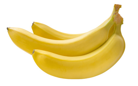 Small banana bunch isolated on white background as package design element