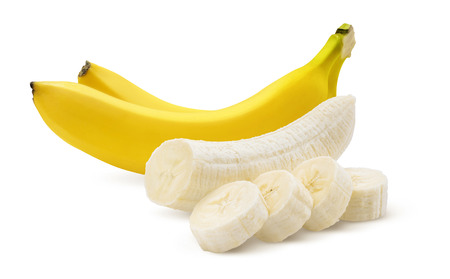 Two bananas and pieces isolated on white background as package design element