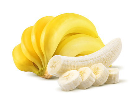 whole: Banana bunch and peeled pieces isolated on white background as package design element