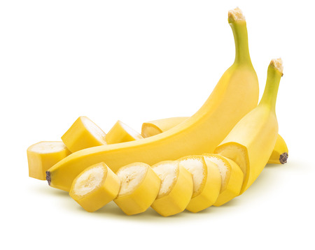 Banana whole and cut unpeeled isolated on white background as package design element
