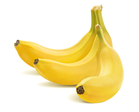 Three bananas in bunch isolated on white background as package design element Stok Fotoğraf