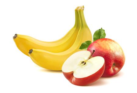 Plátano y manzana aislados sobre fondo blanco como elemento de diseño de paquete Foto de archivo - 33395584