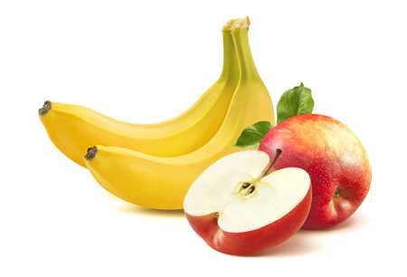 manzana: Pl�tano y manzana aislados sobre fondo blanco como elemento de dise�o de paquete Foto de archivo