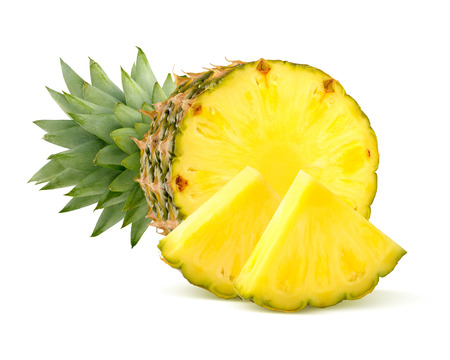 Pineapple pieces isolated on white background as package design element