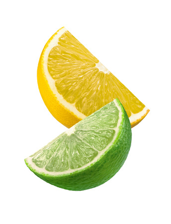 Lime and lemon slices isolated on white background as package design element photo