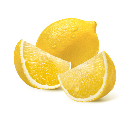 Whole lemon and two quarter slices isolated on white background as package design element