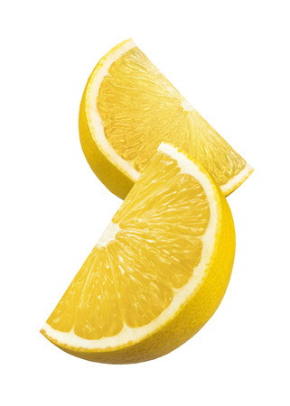Two lemon quarter slices isolated on white background as package design element Standard-Bild