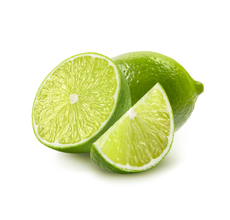 Whole, half and quarter piece lime isolated on white background as package design elements
