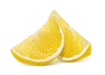 lemon slices: Two fresh lemon quarter slices isolated on white background as package design element