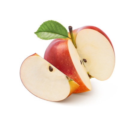 Jonathan red apple whole and piece isolated on white background as package design element