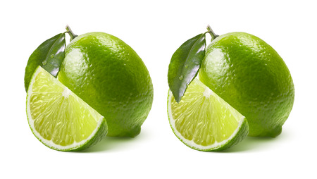 Two lime options whole and quarter isolated on white background