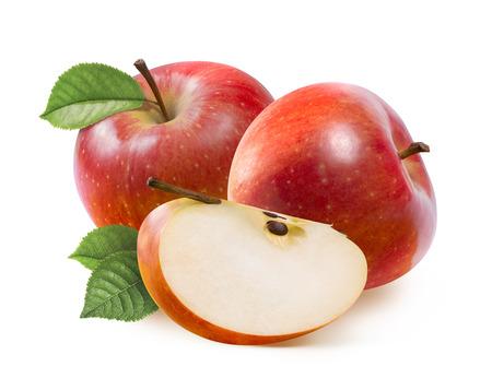 manzana roja: Manzanas Red Jonathan y cuarto segmento aislado sobre fondo blanco como elemento de diseño de paquete Foto de archivo