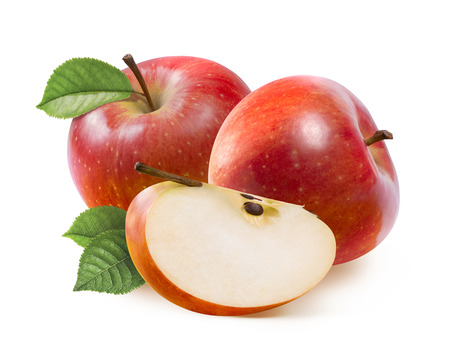 Red Jonathan apples and quarter slice isolated on white background as package design element