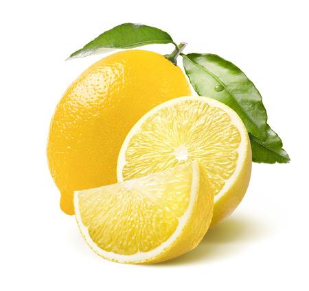Whole lemon, half and quarter slice isolated on white background as package design element Standard-Bild