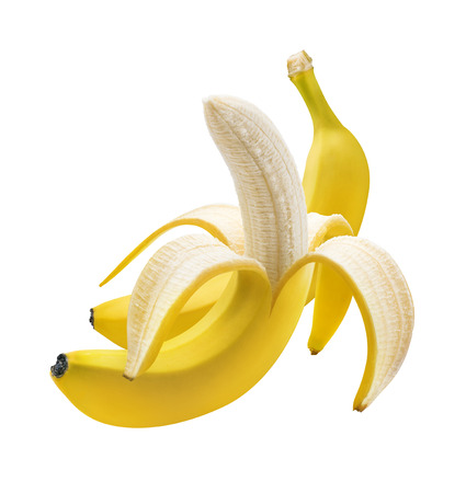 Peeled and unpeeled banana isolated on white background as package design element