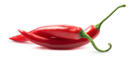 Two chili peppers isolated on white background as package design element