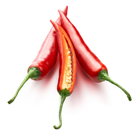 Red hot chili peppers one split isolated on white background as package design element
