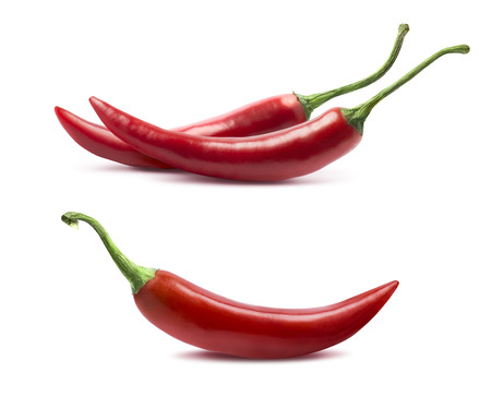 Single and double chili peppers set isolated on white background as package design element Stok Fotoğraf
